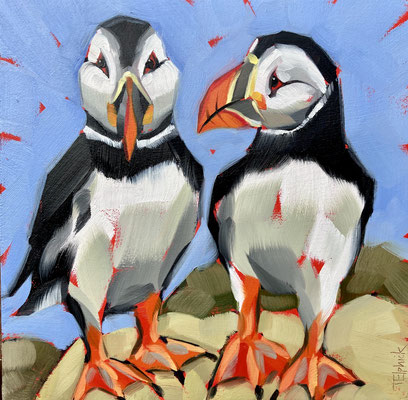 BO33 Puffins original sold      print available £65
