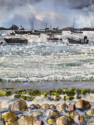 """Periglis Fishing Boats High Tide 12""""x16""""+frame £275 print available"""