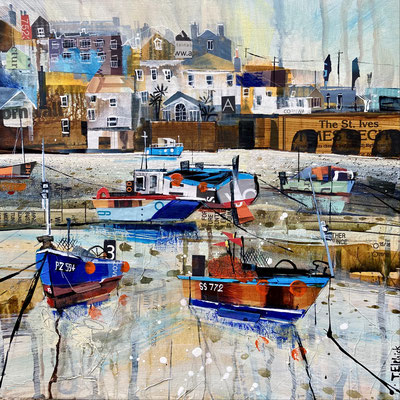 """CO36  St. Ives Harbour Beach, Low Tide 1      Original  12"""" in 15"""" frame    £300    print available   £56"""