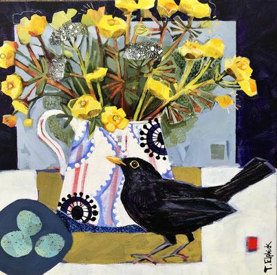 SLB36 Blackbird & Buttercups   original sold      print £65