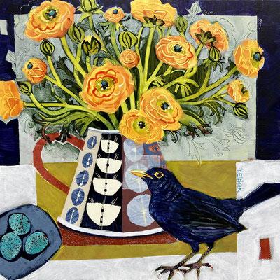 SLB55   Blackbird & Ranunculus    Original sold    print   £65