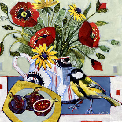 """SLB50 Greatit, Poppies & Figs 12""""square + frame £275 print available"""