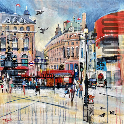 """M25 London Piccadilly Circus 21"""" square in 24"""" frame £600    print available £65"""