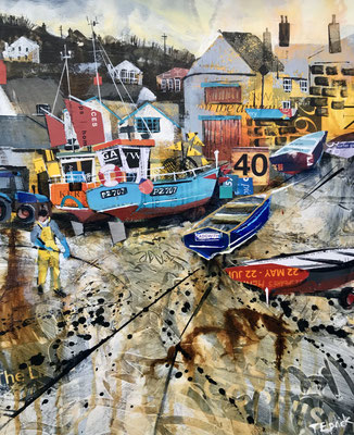 """CO32 Cadgwith in Autumn original 12""""x15""""+frame £325      print available   £65"""