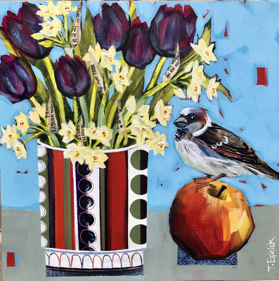 """SLB30 Sparrow, Tulips & Naecissus 10""""square + frame £200 print available"""