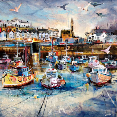 CO16 Porthleven Harbour    original sold       Print Available    £65