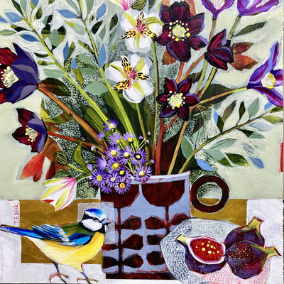 SLB59   Bluetit & Mother's Day Flowers   Original sold   print  £65