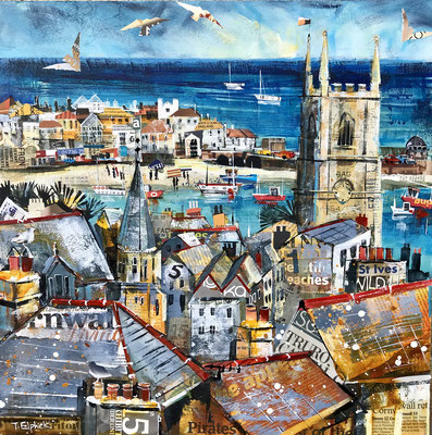 CO19 St. Ives Church & Rooftops    original sold      print available   £65