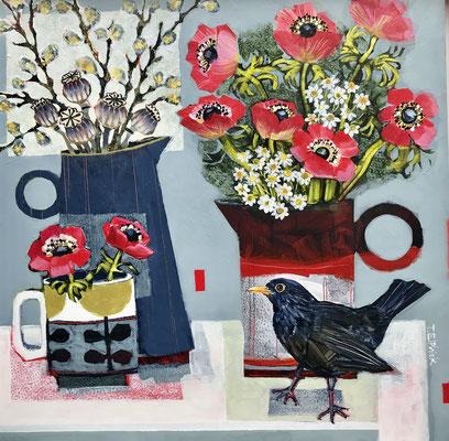 SLB34 Black Bird & Red Anemones     original sold     print £65