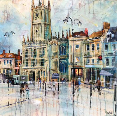 """C29 Cirencester Church, January Light 21""""square +frame £550 print available"""