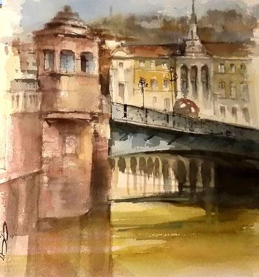 """"""" La garita del puente. Bilbo """" 40x40 Acuarela Open Air. Arches"""