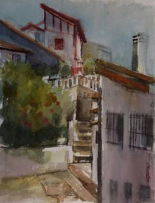 """"""" Bazterra. Portu Zaharra """" 25x35. Acuarela Open Air. Arches"""