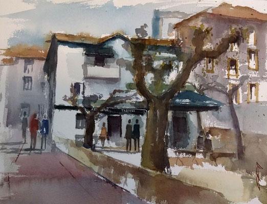 """""""Arrantzale taberna. Portu Zaharra"""" 25x35 Acuarela Open Air. Arches"""