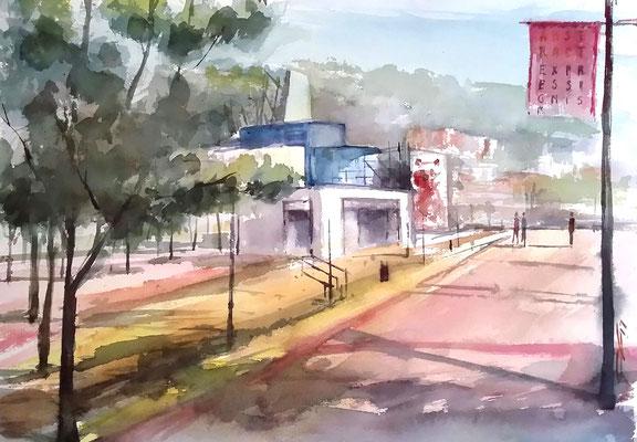 """ Paseo del Arte "" 60x50. Acuarela Open Air."