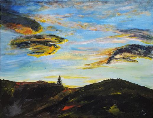 12 Coucher de soleil sur Gagnières - acrylic 40x50