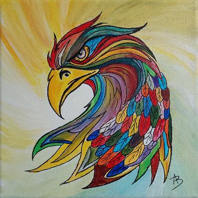 17 Aigle bigarré - acrylic 20x20
