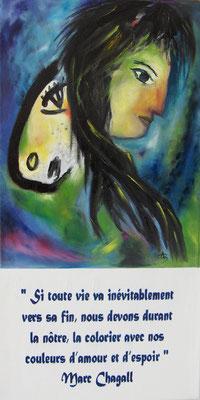 Malika - inspiré librement de Marc Chagall (huile)