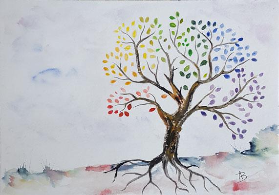 28 L'arbre de Vie - aquarelle 21x30