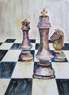 1 Jeu d'échecs - aquarelle 40X30
