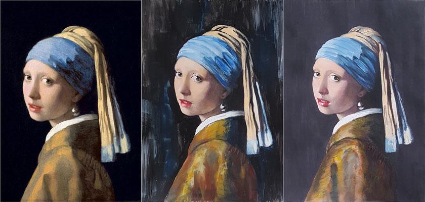 32 La jeune fille à la perle (Vermeer) + mise en couleur de 2 photocopies