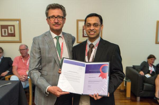 Most Cited Article in 2014: From left to right: Prof. Vorwerk (Past CVIR EiC), Dr. Kalva (awardee)