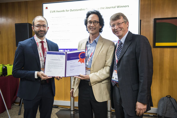 Most Cited Article in 2017: From left to right: Prof. El-Haddad and Prof. Sze accepted the award on behalf of the authors, Prof. Hausegger (CVIR EiC)
