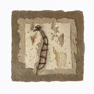 MARIA'S TUNE, handmade paper, snake skin sheds, found object, twine,