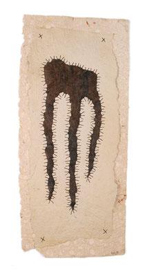 ROOTS, ca. 30 x 70cm, handmade paper, wool, twine, SOLD