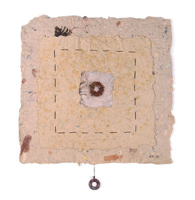 SQUARED, handmade paper, wool, rusted washers, twine