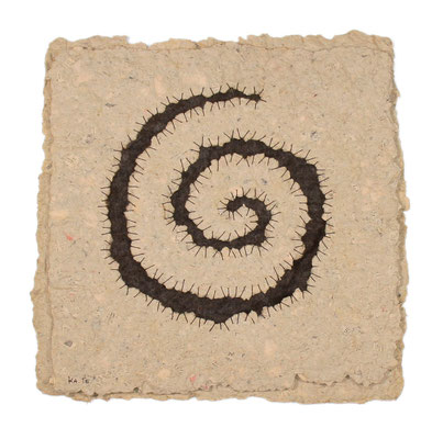 COIL, ca. 35 x 35cm, handmade paper, felted wool, twine, SOLD