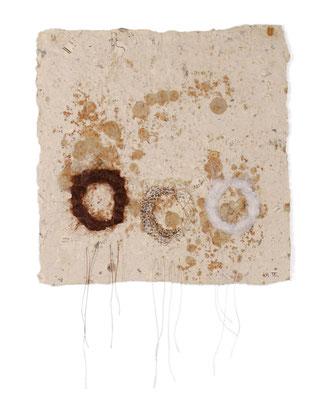 SISTERS, handmade paper, hair, wool, snake skin shed, twine,
