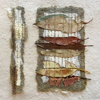 SINIPPETS OF LOVE #1, handmade and salvaged paper, eucalyptus leaves, snakes skin shed, beeswax, twine, SOLD