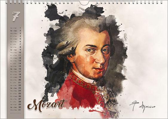 Musik-Geschenk Komponisten-Kalender 61 im Juli.