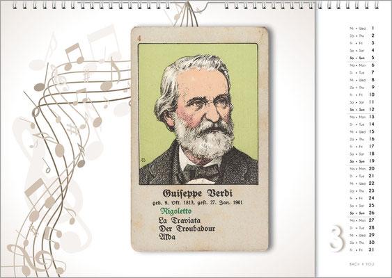 Musik-Geschenk Komponisten-Kalender 66 im März.