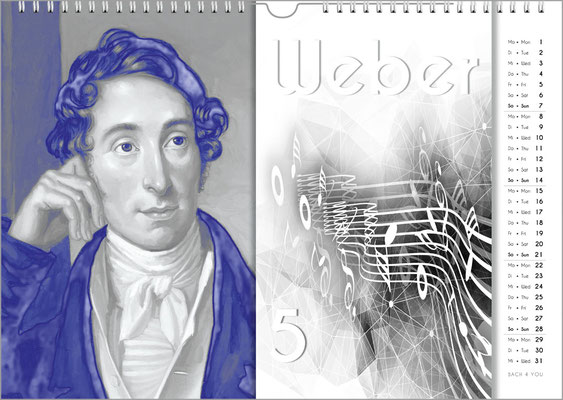 Musik-Geschenk Komponisten-Kalender 57 im April.