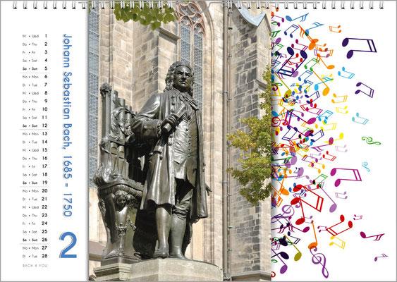 Musik-Geschenk Komponisten-Kalender 65 im Februar.
