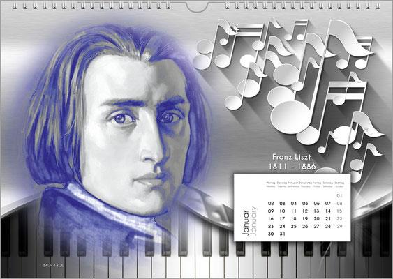 Musik-Geschenk Komponisten-Kalender 52 im Januar.