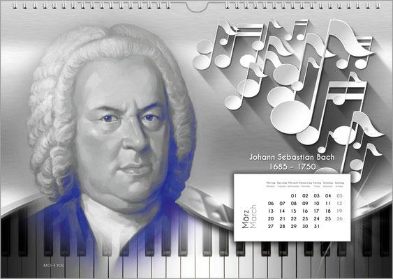 Musik-Geschenk Komponisten-Kalender 52 im März.