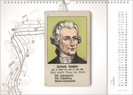 Musik-Geschenk Komponisten-Kalender 66 im April.