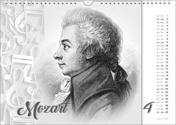 Musik-Geschenk Komponisten-Kalender 63 im April.