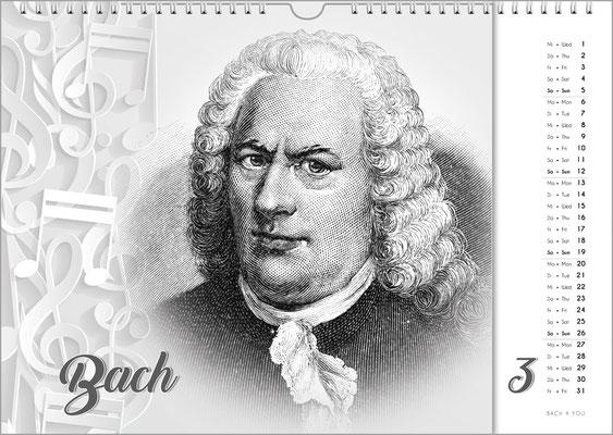 Musik-Geschenk Komponisten-Kalender 63 im März.