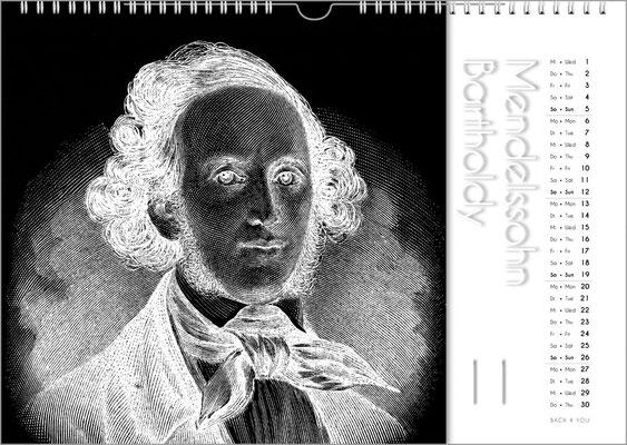 Musik-Geschenk Komponisten-Kalender 50 im November.