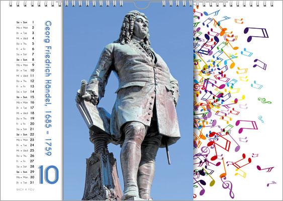 Musik-Geschenk Komponisten-Kalender 65 im Oktober.
