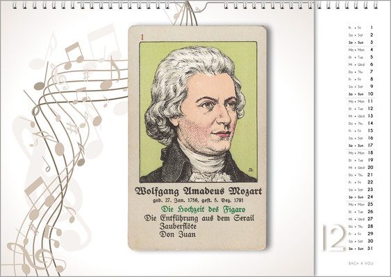 Musik-Geschenk Komponisten-Kalender 66 im Dezember.
