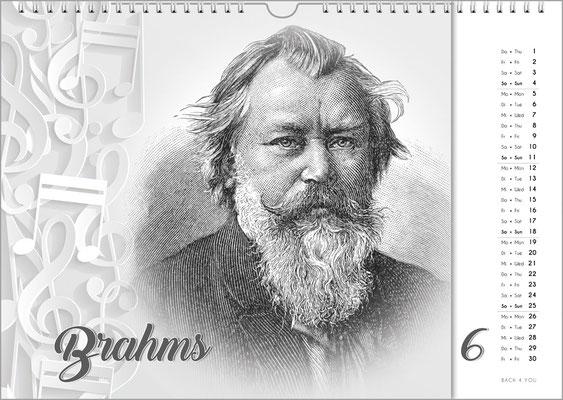 Musik-Geschenk Komponisten-Kalender 63 im Juni.