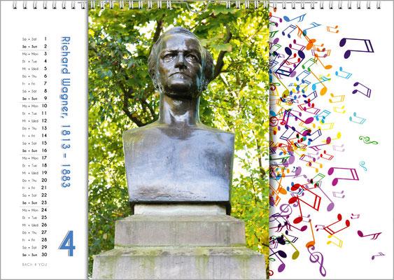 Musik-Geschenk Komponisten-Kalender 65 im April.