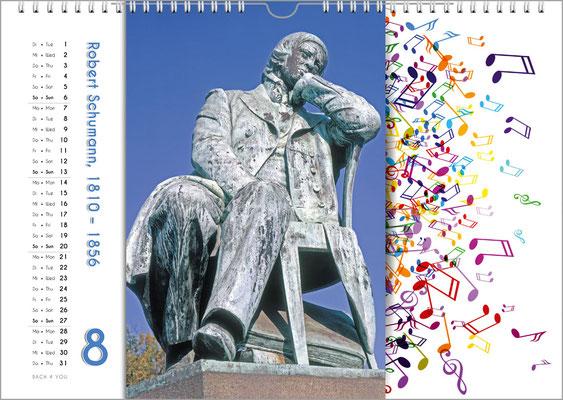 Musik-Geschenk Komponisten-Kalender 65 im August.