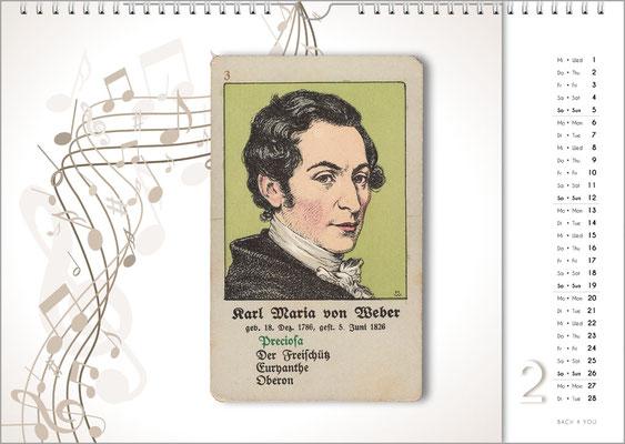 Musik-Geschenk Komponisten-Kalender 66 im Februar.