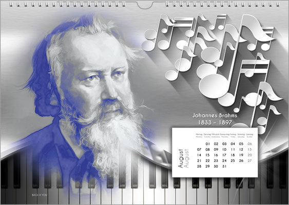 Musik-Geschenk Komponisten-Kalender 52 im August.
