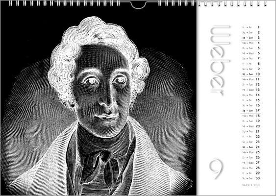 Musik-Geschenk Komponisten-Kalender 50 im August.